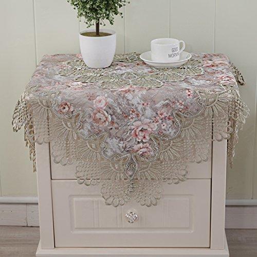 MUZIDP Tischdecken,Europäische Spitze Jacquard Nachttisch Tischwäsche Rechteckiger Tisch Runde Coffee Table Kühlschrank-Handtuch Tisch-Abdeckung-grün 40x180cm(16x71inch)