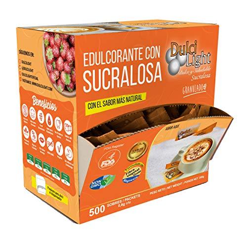 EDULCORANTE SUCRALOSA DULCILIGHT 500 Sobres, Natural granulado con DISPENSADOR Y fibra Vegetal|1gr = 10gr de azúcar| EL Sabor, la textura y el Sonajero del azúcar LIBRE de calorías **