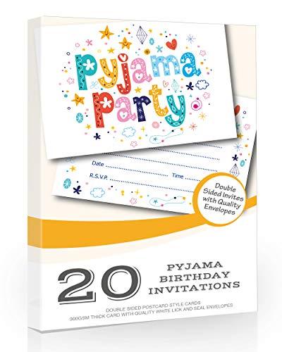 Olivia Samuel Einladungskarten für Pyjama-Party, A6, Postkartengröße mit Umschlägen, 20 Stück