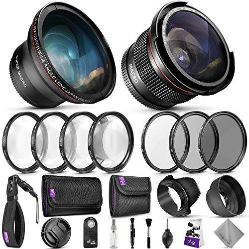 58mm Altura Photo Professional Accessory Kit for Canon EOS Rebel DSLR – Bundle with Wide Angle & Fisheye Lens, Filter Kit (Macro Close-Up Set, UV, CPL, ND4) Remote Control & More