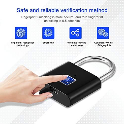 KTYX Smart Fingerprint Lock, Waterproof Keyless Unlock Padlock, Anti-theft Password Outdoor Lock (Color : Grey)