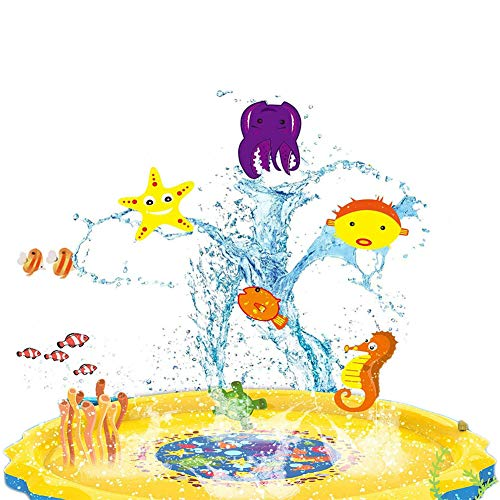 JIASHA Splash Pad,Juego de Salpicaduras y Salpicaduras, Almohadilla de Aspersión Alfombra Juegos Piscina,Aire Libre Fiesta Playa Jardín