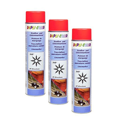 3X DUPLI-Color STRAßENMARKIERER ROT LINIENMARKIERUNG PARKPLATZ Industrie 600 ML