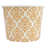 [50 Count] Elegant Gold Paper Dessert Cups - 12 oz Holiday Ice Cream Bowls - Gold Paper Ice Cream Cups Perfect For Weddings - Frozen Dessert Supplies