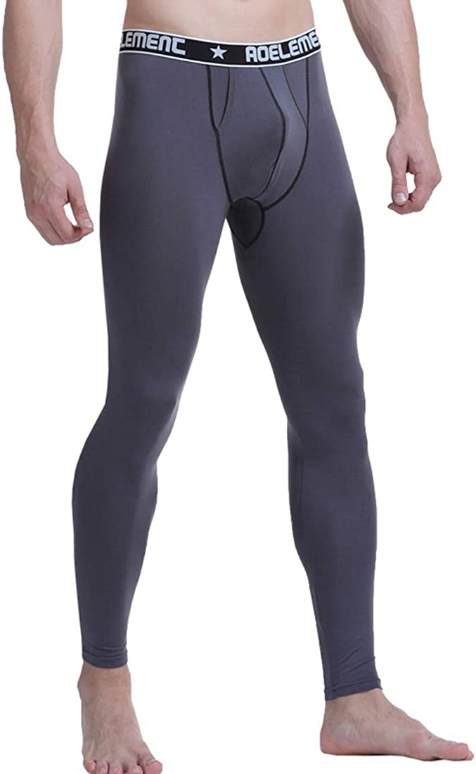 Ouruikia Men's Thermal Underwear Pants Modal Thermal Bottoms Long Johns Base Layer with Dual Fly