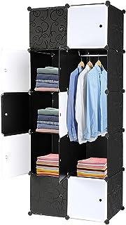Alightup Armoire Penderie Portable 10 Cube, avec Tige Suspendue et Portes, pour Vêtements, Chaussures, Accessoires (Noir e...