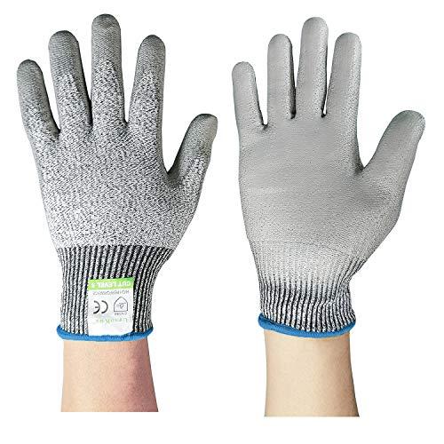Snijbestendige gebreide mouwen Niveau 5 Bescherming, Slash Resistant Veiligheid Beschermende Arm Mouwen met Duim Slot helpt voorkomen Schraapjes Krassen Huidirritaties, UV-Bescherming, Grijs, 1 paar(2 stuks) Gesneden handschoenen Cut Resistant Gloves Size 9/L Yellow Border