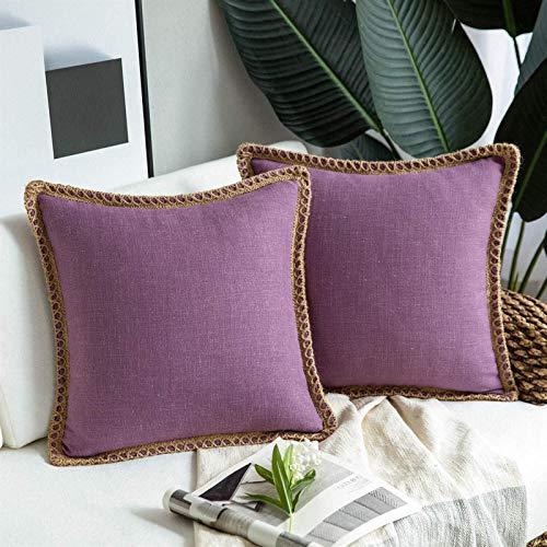 Caja de la Almohada Cuadrada de Lino Tiro de la Cintura Cojín de cojín Coverging Bed Sofá Sofá Almohada Cubierta Amante Pareja Regalo Decoración para el hogar (Color : Purple)