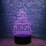 Caballo felices vacaciones carrusel 3d luz de noche ilusión atmósfera decoración de habitación de niña lámpara de mesa de escritorio Led