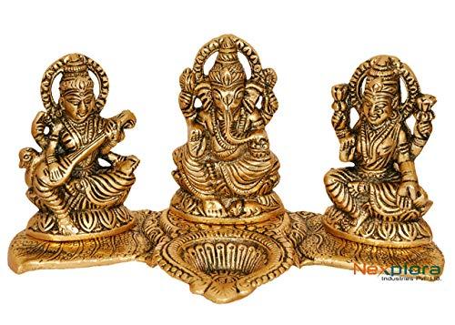 Lampada a olio VintFlea Laxmi Ganesh Saraswati Idol | Diya | Deepak | Deepam | Statua in metallo