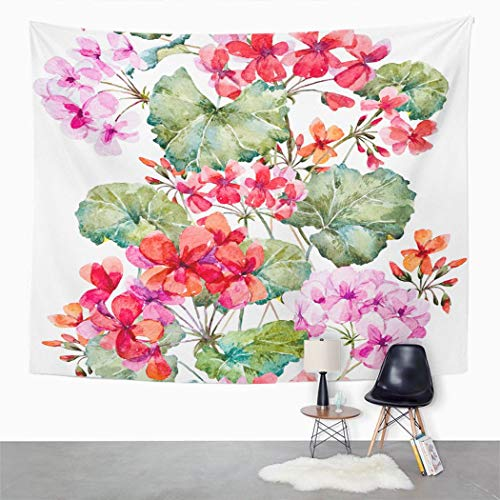 Y·JIANG Tapiz de flores, acuarela floral geranio, flores verticales para el hogar, dormitorio, manta ancha para colgar en la pared para sala de estar, dormitorio, 80 x 60 pulgadas