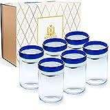BOHEMLUX Colección de 6 Vasos de Cristal Grandes Artesanales con Ribete Azul de 350 ml, de 11cm Alto y 8cm Ancho, Regalo para Padres, Regalo Hombre o Regalo Mujer