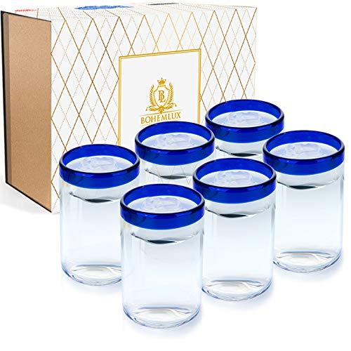BOHEMLUX Colección de 6 Vasos de Cristal Grandes Soplados a Mano con Ribete Azul de 350 ml, de 11cm Alto y 8cm Ancho, Regalo para Padres, Regalo Hombre o Regalo Mujer