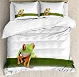 Ambesonne Animal Duvet Cover Set, Exotic Red Eyed Tree Frog Perches on a Long Slim Leaf Tropic...