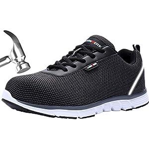 51JUX6fUlnL. SS300  - LARNMERN Zapatos de Seguridad Hombres LM30 S1 SRC Zapatillas de Trabajo con Punta de Acero Ultra Liviano Reflectivo Transpirable