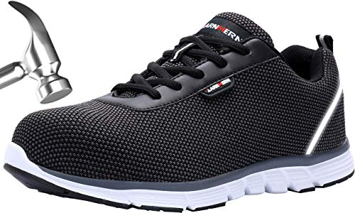 LARNMERN Zapatos de Seguridad Hombres LM30 S1 SRC Zapatillas de Trabajo con Punta de Acero Ultra Liviano Reflectivo Transpirable