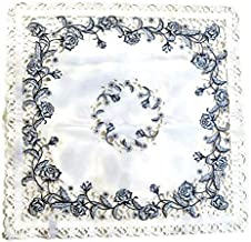 Doily Boutique Tablecloth or Table Topper Square Embroidered on White Material with Blue Roses, Size 34 inches