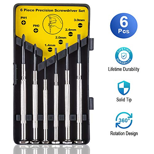 Screwdriver Set, Precision 6 Different Size Flathead and Phillips Screwdrivers Set, 6Pcs Premium Small Eyeglasses Screwdriver Kit for Glasses, Electronics, Watch, Computer, Toys- with Case by ESINAM
