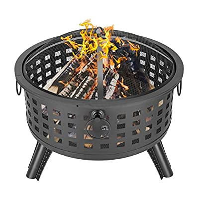 """DEPFALL Fire Pit, 26"""" Round Lattice Iron Brazier, Wood Burning Firepits, with Spark Screen, for Outdoor, Backyard Poolside, Black"""