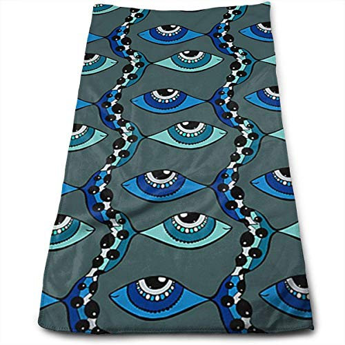 AOOEDM Toalla de Mano con diseño de pez de Ojos, Toalla de Playa Absorbente Suave de Microfibra 100% para baño, Cocina, 12 x 27,5 Pulgadas
