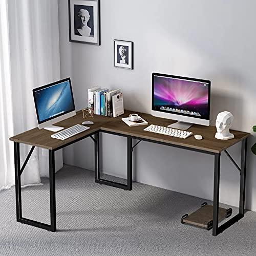 Amzdeal Eckschreibtisch, L-förmiger Computertisch mit CPU-Unterstützung, Hergestellt aus Hochwertigem Holz, Stahlstütze, Hellem Nussbaum (Dunkle Walnussfarbe)