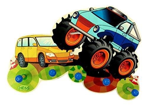 Hess Jouet en bois 30297 Porte-manteau en bois, Monster Truck, multicolore Env. 40 x 25 x 8 cm