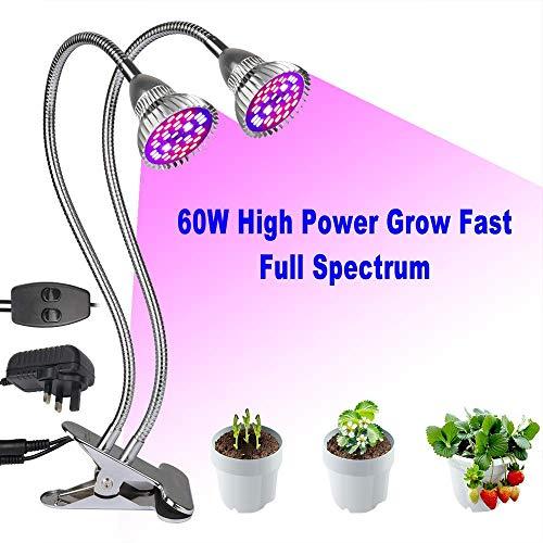 Derlights Lampada per Piante, Lampada da Coltivazione a LED 60W, Lampada da Coltivazione a Doppia Testa a Spettro Completo, 80 LED Chips Light per Piante da Interno