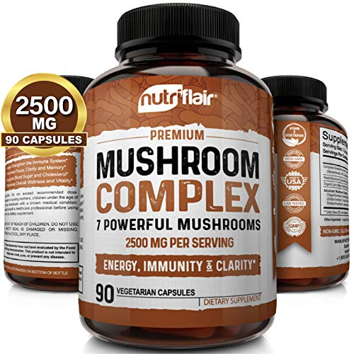 NutriFlair Mushroom Supplement 2500mg - 90 Capsules - 7 Mushrooms - Reishi, Lions Mane, Cordyceps, Chaga, Turkey Tail, Maitake, Shiitake Nootropic Complex - Brain, Immune System, Energy, Focus
