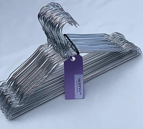 Skippys 100 Drahtbügel Silber Draht-Kleiderbügel - mit Einkerbungen - für den Hausgebrauch, Chemische Reinigung, Einzelhandel Notched