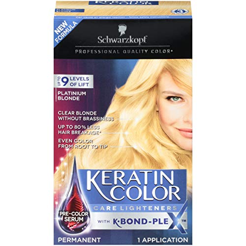 Schwarzkopf Keratin Color Care Lighteners Permanent Hair Color Cream, Platinum Blonde