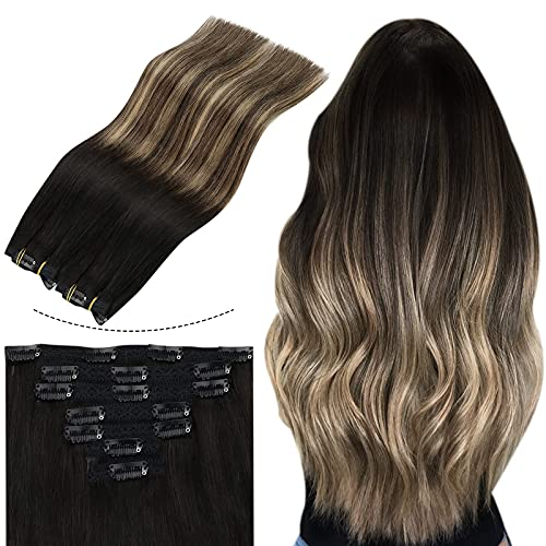 Sunny Extension de Cheveux Humain a Clip Balayage #1b Noir Naturel Ombre #4 Marron avec #27 Blonde Clips Cheveux Extension Naturel Humain Remi 24 pouc