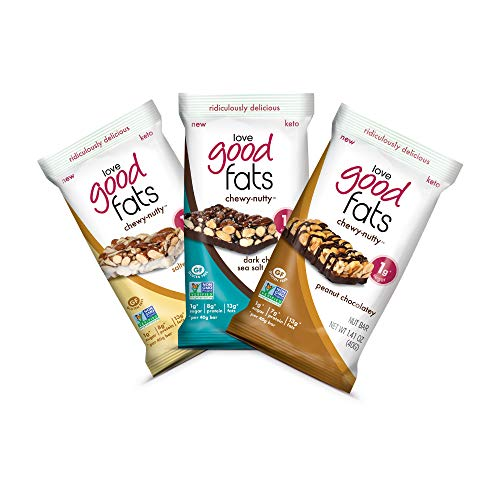 Love Good Fats Bars – Chewy-Nutty Variety Pack – Keto-Friendly Protein Bars with Natural Ingredients – Low Sugar, Low Carb, Non GMO, Gluten & Soy Free Snacks for Ketogenic Diets – (12 Count)