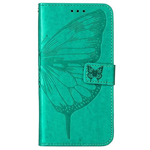 Funda de protección para Motorola Moto G Power con diseño de mariposas y flores, con ranuras para tarjetas azules