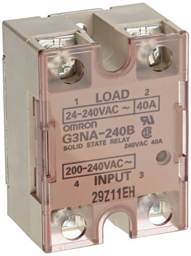Omron G3NA-240B-AC200-240 Solid State Relay, Zero Cross Function, Yellow Indicator, Photocoupler Isolation, 40 A Rated Load Current, 24 to 240 VAC Rated Load Voltage, 200 to 240 Input Voltage