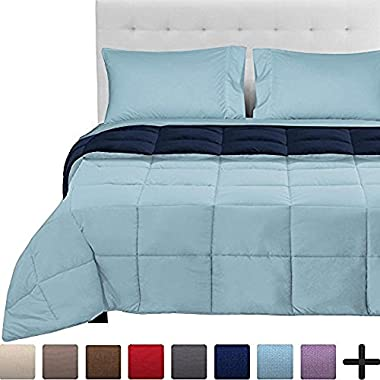 Bare Home 5-Piece Reversible Bed-In-A-Bag - Queen (Comforter: Dark Blue/Light Blue, Sheet Set: Light Blue)