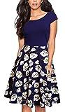 HOMEYEE Women's 1950s Vintage Elegant Cap Sleeve Swing Party Dress A009 (L, Dark Blue + White Flower)