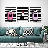 DGUOHAC Triptych Stripe Primer Perfume Bottle Lipstick Decorative Painting Living Room Bedroom Dressing Table