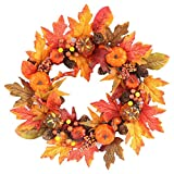 Yelite Fall Decorations, Autumn Simulation Wreath 40cm/16inch Garland Rattan Artificial Door Wreath for Halloween Home Decor Ornaments Christmas Thanksgiving Hanging Decoration (C)
