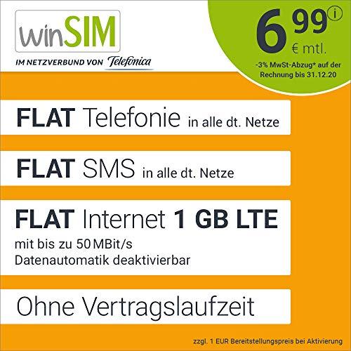 Handyvertrag winSIM LTE All 1 GB - ohne Vertragslaufzeit (FLAT Internet 1 GB LTE mit max 50 MBit/s mit deaktivierbarer Datenautomatik, FLAT Telefonie, FLAT SMS und EU-Ausland, 6,99 Euro/Monat)