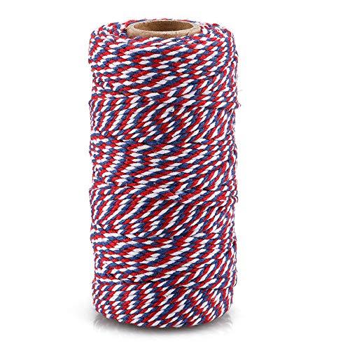 G2PLUS 300 pieds Ficelle de jardin filetage Durable Étiquettes étiquettes de cordes bobine pour DIY Artisanat Arts et fait à la main, Blue Red and White Cotton