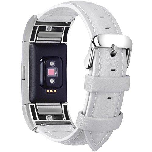 Fullmosa kompatibel mit Fitbit Charge 2 Armband für Damen und Herren,Leder Ersatz Uhrenarmbänder für Fitbit Charge2,Weiß