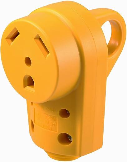 Kohree RV Female Plug Replacement 30 Amp, RV Receptacle Plug 125/250V, Heavy Duty Camper Plug with Ergonomic Grip Handle, Yellow