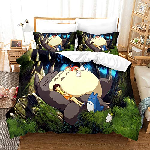 3D Duvet Covers Double Anime Super Totoro Microfiber Quilt Cover Bedding Set With Pillocases 78.7 X 78.7 inch 3 Pcs Bedding Set