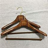 PPuujia Percha de madera de haya para hombre, con hombro ancho, para tienda de ropa, abrigo, soporte de madera, para el hogar personalizado (color: el color de la madera)