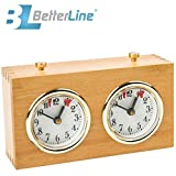 Professional Analog Wood Chess Clock Timer - Wind-Up Mechanism - No Battery Needed