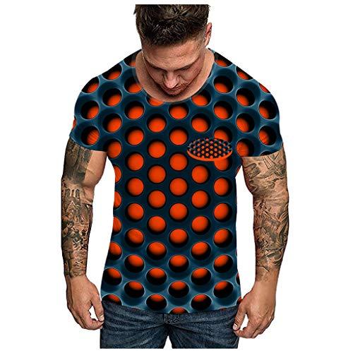 Men 3D Print O-Neck Short Sleeve T Shirt Fashion Unisxe Dizziness Funny Tees Top Orange