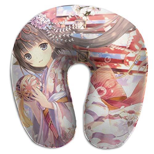 Diseño ergonómico Memory Foam Anime Original Almohada en Forma de U Soporte portátil para la Cabeza y el Cuello Avión para Dormir Proteger Almohada de Viaje Almohada para Exteriores Autobús Tren