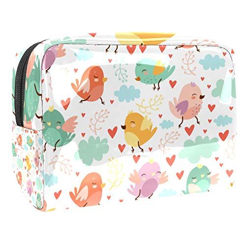Bolsa de maquillaje portátil con cremallera, bolsa de aseo de viaje para mujeres, práctica bolsa de almacenamiento para cosméticos, sin costuras, pájaros