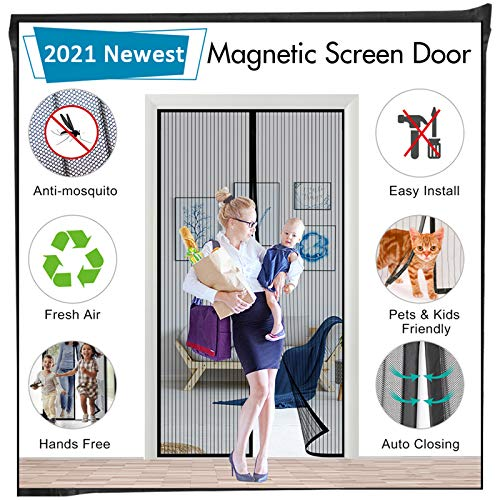 Magnetic Screen Door for Sliding French Doors, Mkicesky Full Frame Double Door Hook & Loop Bug Screen Mesh Curtain Keep Bugs Mosquitos Out,Black (72'' x 80'', Black)