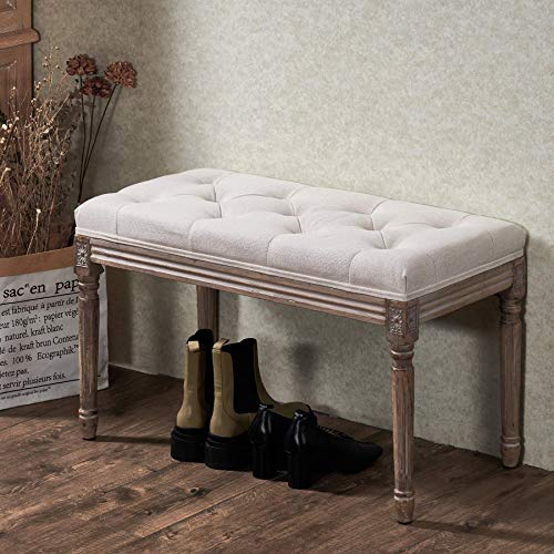 VONLUCE French Vintage Bench with Padded Seat and Rubberwood Legs, Upholstered Entryway Bench Shoe Bench and Dining Bench, Tufted Fabric End of Bed Bench for Bedroom Living Room Hallway More, Beige